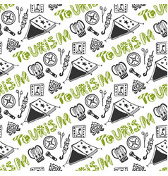 hand drawn seamless pattern with camping holiday vector image