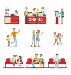 Happy people in cinema theatre purchasing tickets vector