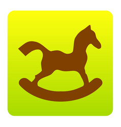 Horse toy sign brown icon at green-yellow vector