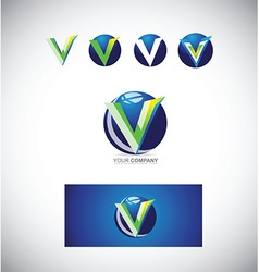 Letter v 3d logo icon vector