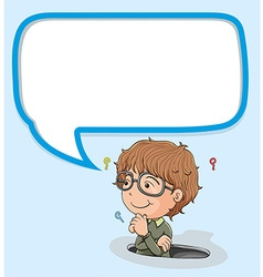 Little boy with speech bubble vector