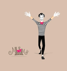 Mime performance - Open arms vector image vector image