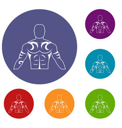 Muscular man with tattoo icons set vector
