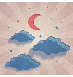 Old paper background with moon stars and sea vector