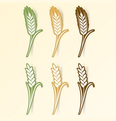 paper art cut stickers ears of wheat vector image vector image