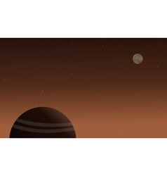 Planet space on brown background landscape vector image vector image