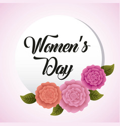 Round banner flowers card womens day vector