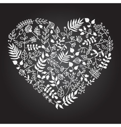 Rustic floral heart shape vector