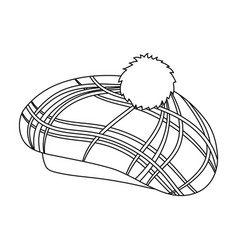 Scottish traditional cap icon in outline style vector