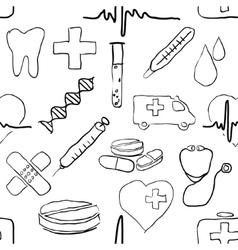 seamless doodle medical pattern vector image vector image