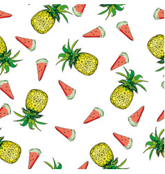 seamless pattern with pineapples vector image