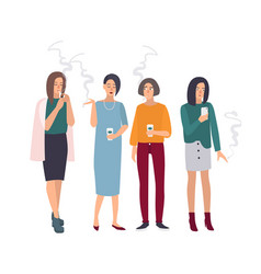 smoking room girls on smoke break woman with vector image