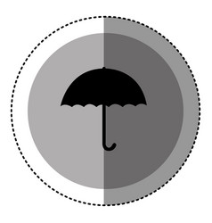 sticker monochrome circular emblem with umbrella vector image