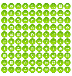 100 craft icons set green circle vector