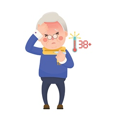 Senior man with fever checking thermometer vector