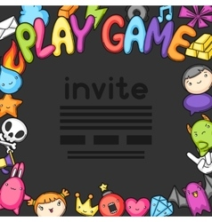 Game kawaii invite cute gaming design elements vector
