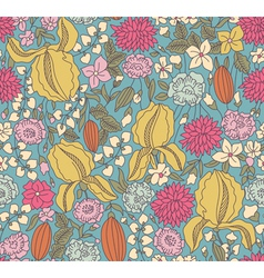 Color floral sketch seamless vector image