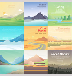 Set cute cartoon landscapes with mountain vector
