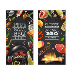 picnic barbecue vertical banners vector image