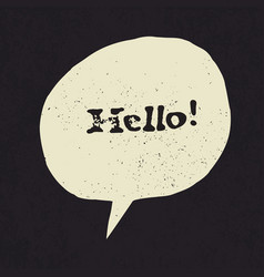 Hello sign in speech bubble grunge styled vector
