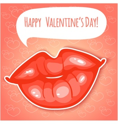 Decorative card with lips for Valentines Day eps1 vector image