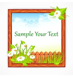 Wooden frame with landscape vector image