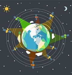 Flat design of the earth in space and satellites vector