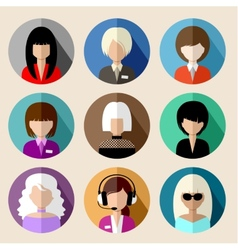 Set of round flat icons with women vector