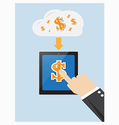 hand of businessman touching dollar on screen vector image