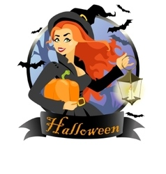 Witch with pumpkin and lantern vector