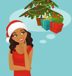 Christmas black woman thinking vector image