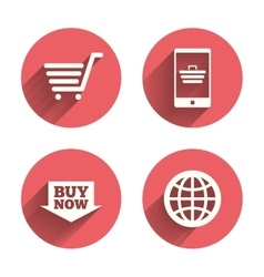 Online shopping icons smartphone cart buy vector