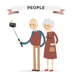 Selfie photo shot grandpa and grandma vector