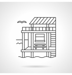 Bungalow black flat line icon vector