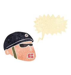 Cartoon policeman head with speech bubble vector
