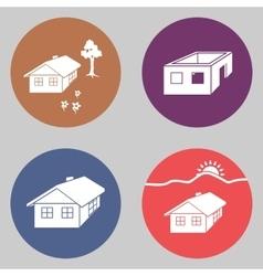 House icon set Finished unfinished building vector image