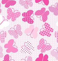 Pink patterned butterflies seamless vector image