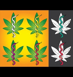 Medical cannabis leaf snake symbol design vector