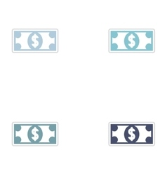 Set of paper stickers on white background dollar vector