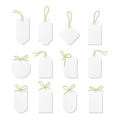 Tags and labels with bakers twine bows ribbons vector