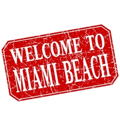 Welcome to miami beach red square grunge stamp vector