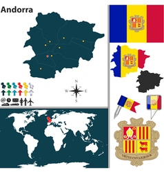 Andorra map world vector image