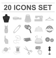 atelier and sewing monochrome icons in set vector image