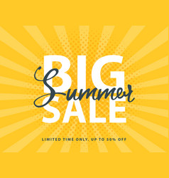 Big summer sale sign with retro pop art halftone vector