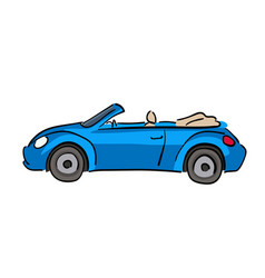 Blue cabriolet car hand drawn vector