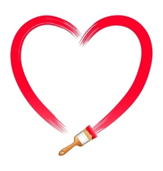 Brush drawing red heart vector