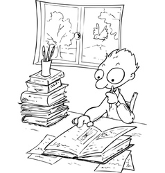 Busy boy studying with a lot of books vector image vector image