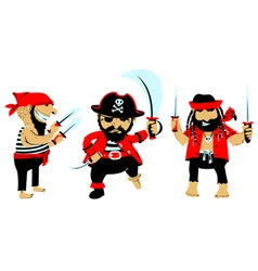 cartoon pirates with weapon vector image vector image