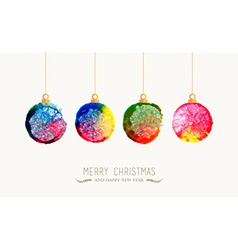Christmas bauble watercolor greeting card vector