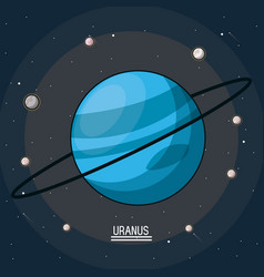 Colorful poster of the planet uranus in the space vector